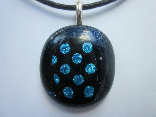 Handmade dichroic glass cabochon pendant - Dotty turquoise dichroic