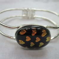 Handmade fused glass bangle - Burnt hearts