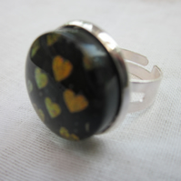 Handmade glass cabochon modern ring -'Flame' heart dichroic