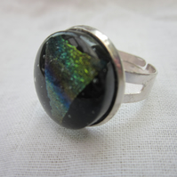 Handmade glass cabochon modern ring - Rainbow dichroic triangle