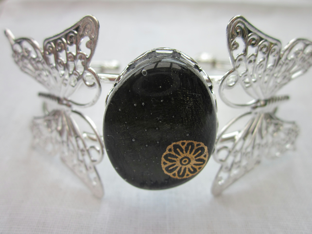 Handmade fused glass butterfly bangle - Autumn sunflower