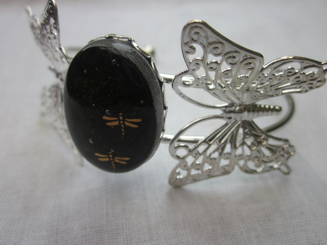 Handmade fused glass butterfly bangle - Autumn dragonflies
