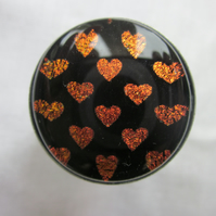 Handmade glass cabochon modern ring - BIG 'Flame' heart dichroic