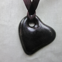 Handmade cast glass pendant - Heart of glass - Gothic plum