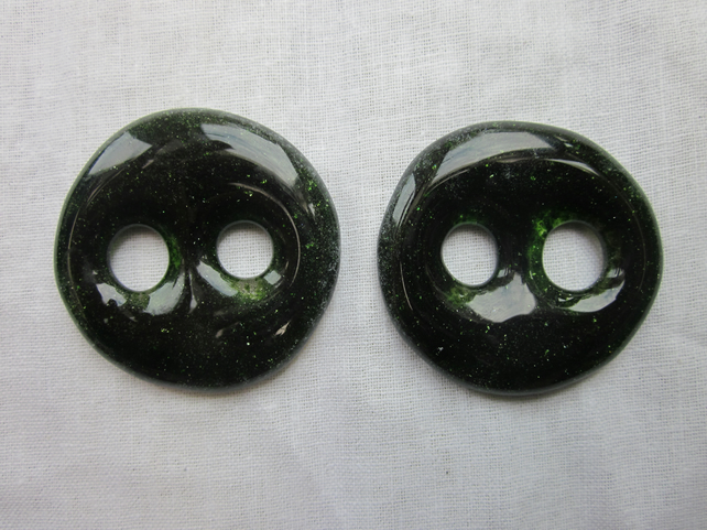 Handmade pair of cast glass buttons - Aventurine green shimmer