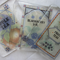 Set of handmade fused glass coasters - blackberry and apple fruit teas