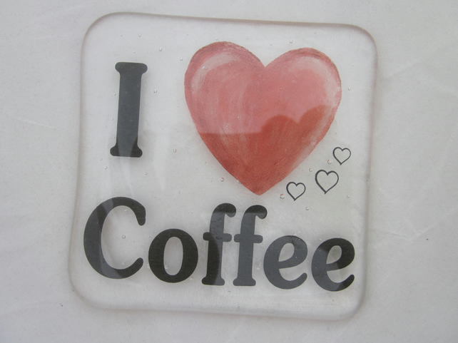Handmade fused glass coaster - I love coffee