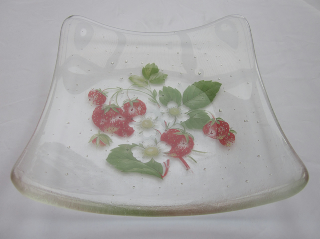 Handmade fused glass candy bowl - strawberries