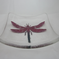 Handmade fused glass candy bowl - copper dragonfly on clear