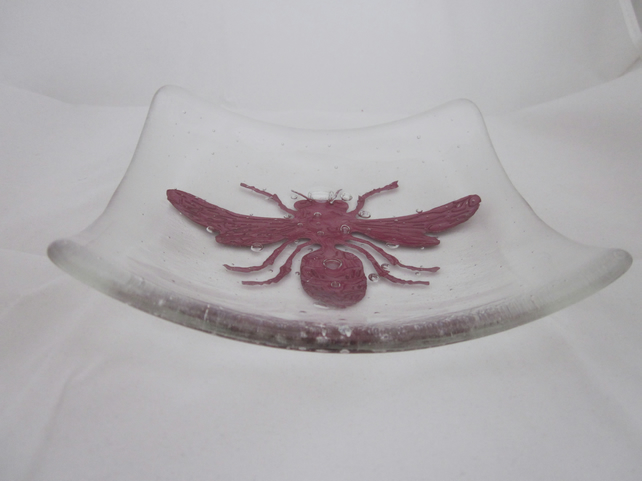 Handmade fused glass candy bowl - copper bee on clear