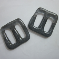 One handmade cast glass buckle or button - Square fog jelly