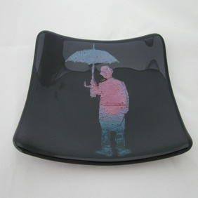 Handmade fused glass candy bowl - copper umbrella man on deep purple