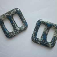 One handmade cast glass buckle or button - Square pacific marble