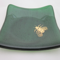 Handmade fused glass trinket bowl or soap dish - gold bee on green aventurine