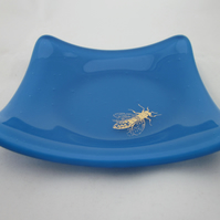 Handmade  fused glass trinket bowl or soap dish - gold wasp on Egyptian blue