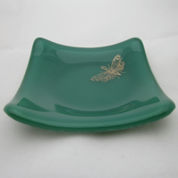 Handmade  fused glass trinket bowl or soap dish - copper moth on kelly green