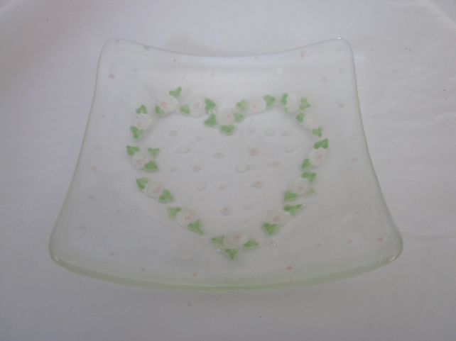Handmade fused glass candy bowl - hand painted pale pink folk heart