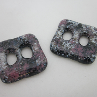 Handmade pair of cast glass buttons - Square deep pink marble