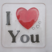 Handmade fused glass coaster - I love you