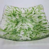 Handmade fused glass candy bowl - green man 2