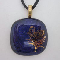 Handmade dichroic glass cabochon pendant - Purple with gold lilies