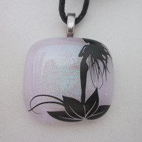 Handmade dichroic glass cabochon pendant - Dainty with black enamel fairy