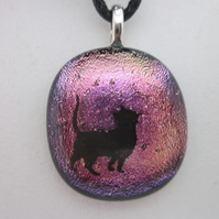 Handmade dichroic glass cabochon pendant - pink with black enamel cat