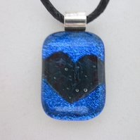 Handmade fused glass copper inclusion pendant - royal blue dichroic with heart
