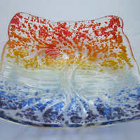 Handmade fused glass candy bowl - tree of life 2