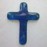 Handmade cast glass holding cross - Madonna