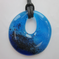 Handmade cast glass round pendant - Feeling blue