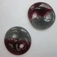 Handmade pair of cast glass buttons - Round red grey jelly