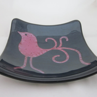 Hand made fused glass candy bowl - cute swirly bird on blue aventurine
