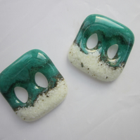 Handmade pair of cast glass buttons - Square lakeside