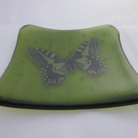 Handmade  fused glass trinket bowl or soap dish - butterfly on bottle green