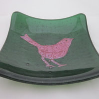 Hand made fused glass candy bowl - copper sparrow on sparkling green aventurine