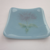 Handmade fused glass trinket bowl or soap dish - china blue with chrysanthemum