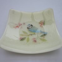 Handmade fused glass candy bowl - blue tit on cream