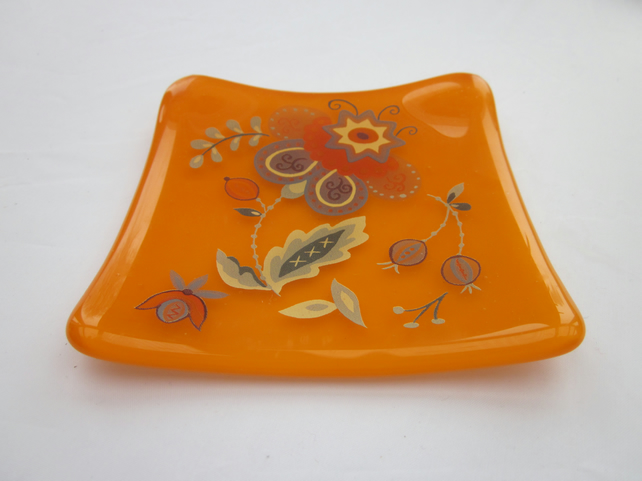 Handmade fused glass trinket bowl or soap dish - orange with Persian flower