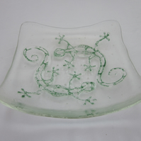 Handmade fused glass candy bowl - echo gecko