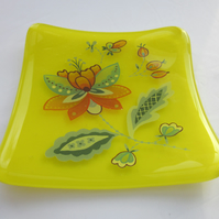 Handmade fused glass trinket bowl or soap dish - citron with Persian flower