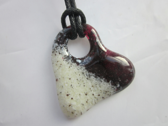 Handmade cast glass pendant - bleeding heart