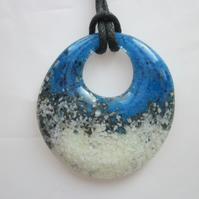 Handmade cast glass round pendant - Surf