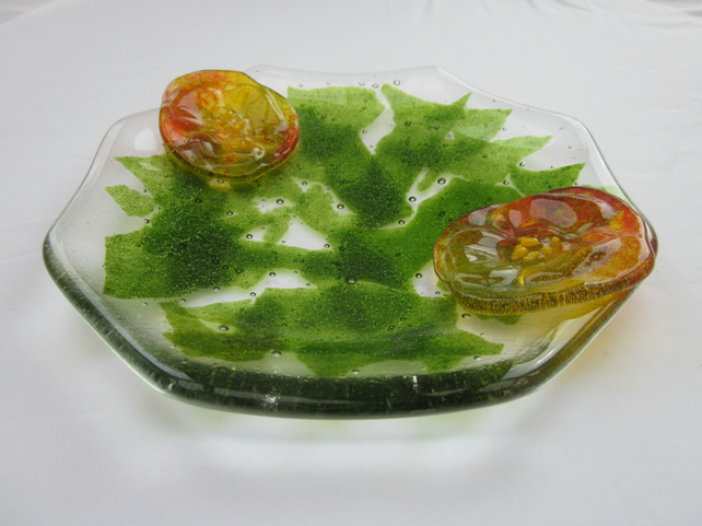 Handmade fused glass octagonal candy bowl - nasturtium