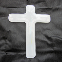 Handmade fused glass decorative cross - Cleansed