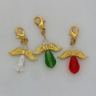 Crochet stitch markers - gold Christmas angel x3