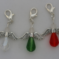 Crochet stitch markers - silver Christmas angel x3