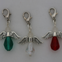 Crochet stitch markers - silver Christmas angel x3 with teal