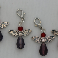 Crochet stitch markers - silver Christmas angel x4 gothic