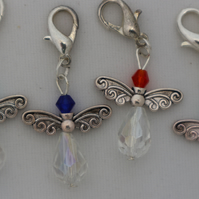 Crochet stitch markers - silver Christmas angel x4 cheery
